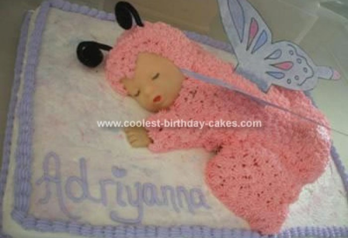 Cute Sleeping Baby Cake With Butterfly Wings For A Baby Shower