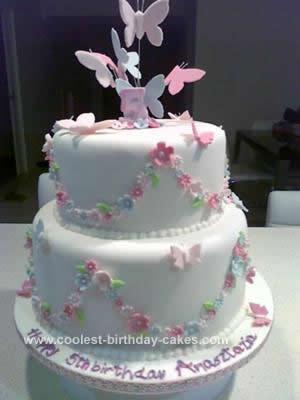 Beautiful Homemade Butterfly Birthday Cake