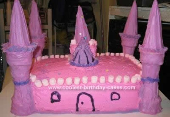 Cool Homemade Pink Castle Birthday Cake Design With Ice Cream Cones