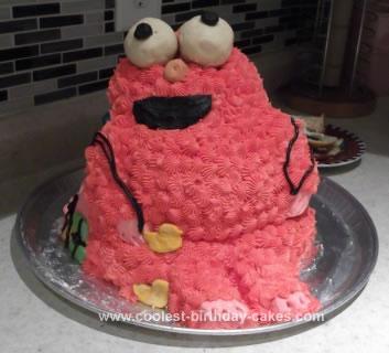 Simple Homemade Elmo Birthday Cake