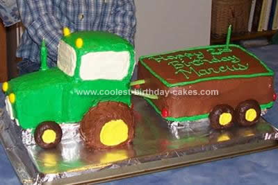 Coolest Green Tractor And Trailer Cake