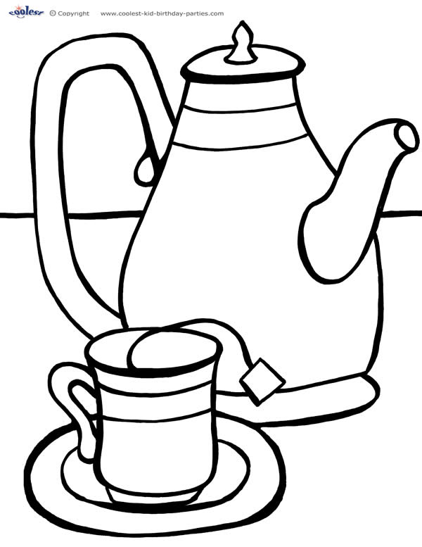 printable tea party coloring page 2