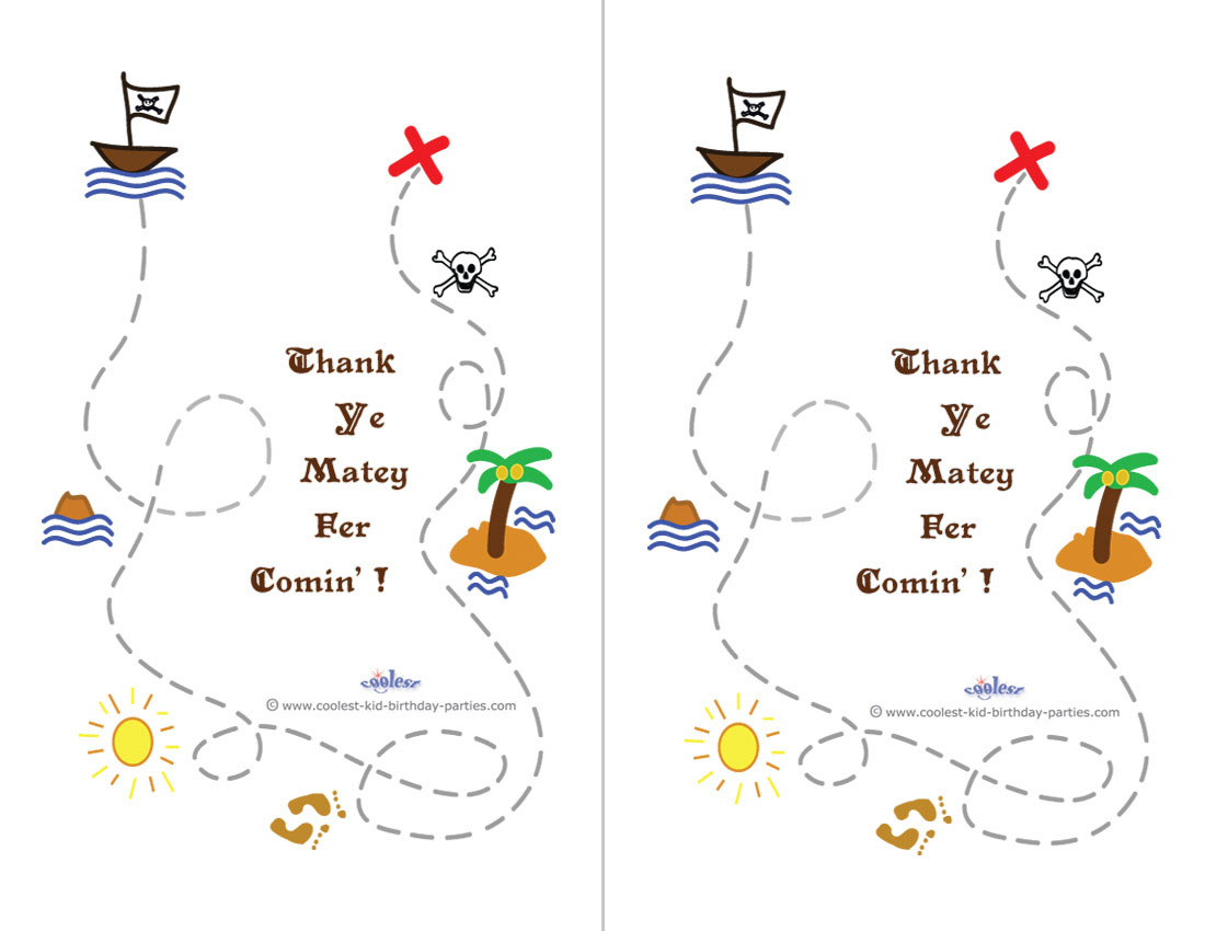 Printable Treasure Map Thank You Cards Coolest Free Printables