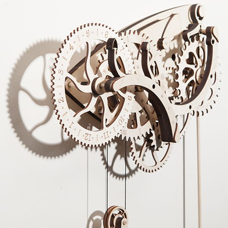 Wooden Mechanical Clock Kit Tells The Time In Classical
