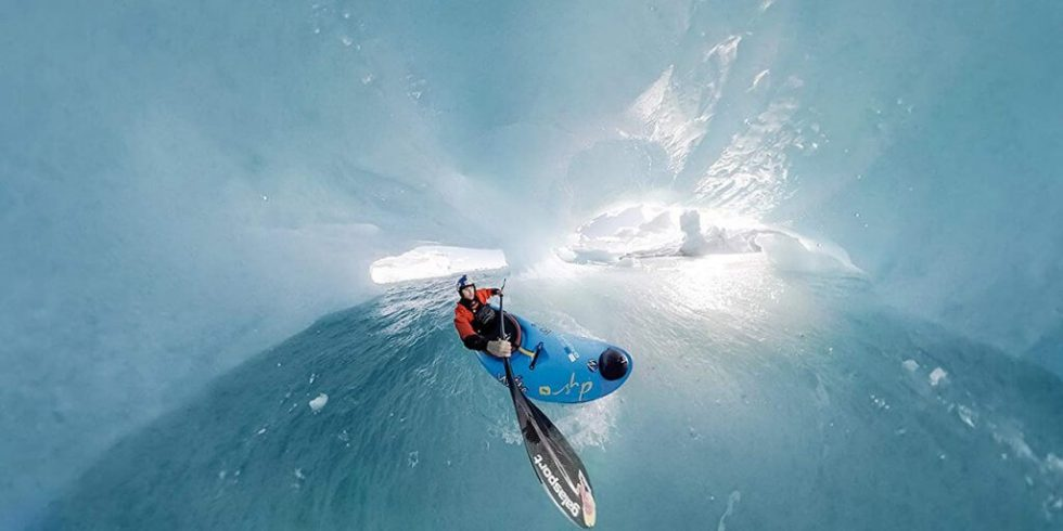GoPro Fusion example shot of kayak in ice cave