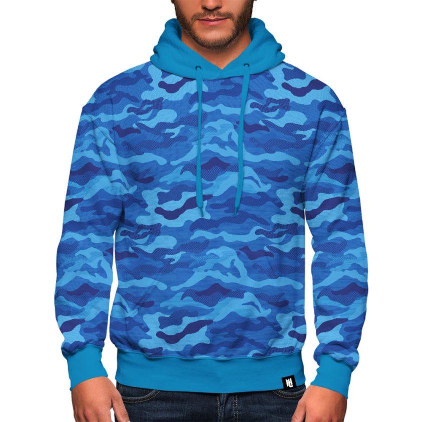 Blue Camo Hoodie For Men