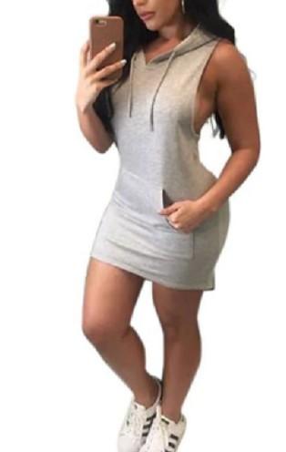 Grey Sleeveless Hoodie Dress with pockets