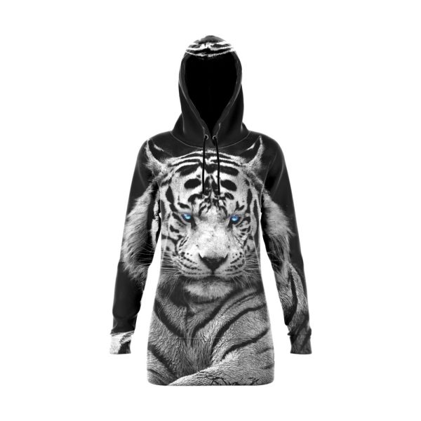 White Tiger with Blue Eyes Hoodie