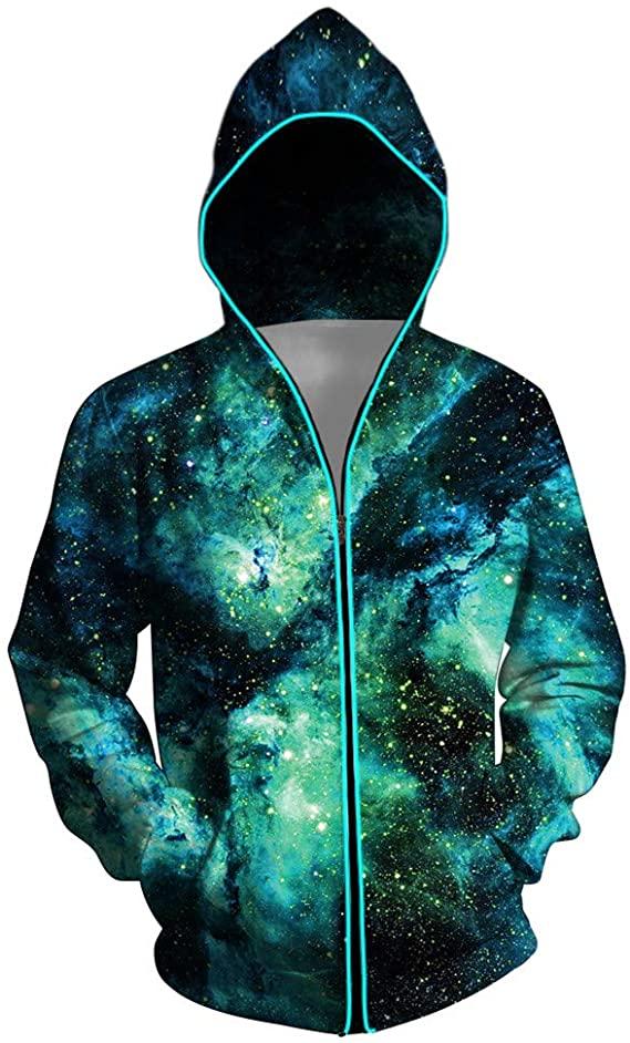 Green Galaxy LED Hoodie