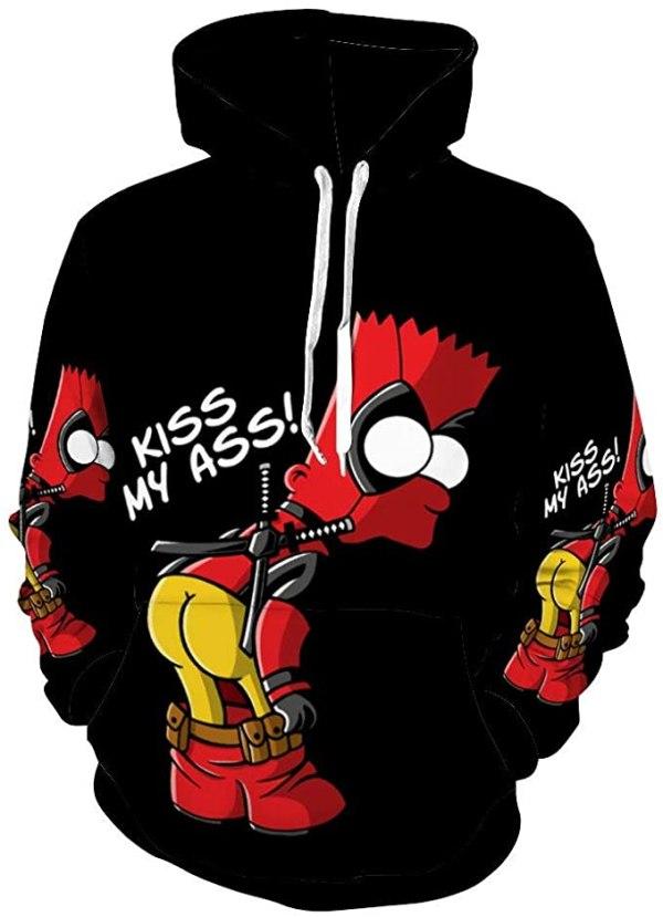 """Bart Simpson Hoodie """"Kiss My Ass"""""""