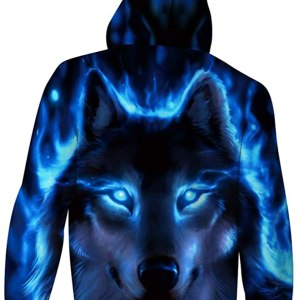 Light Up Wolf Hoodie Back