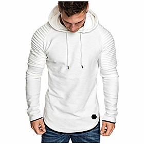 Plain White Hoodie mens with ribbed arm and hood.
