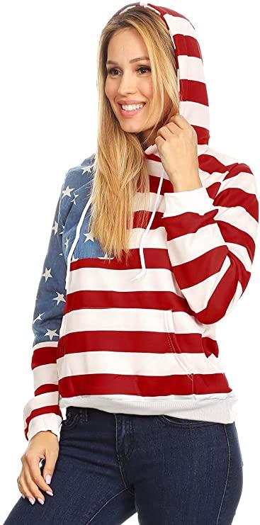 USA Flag Hoodie for Women
