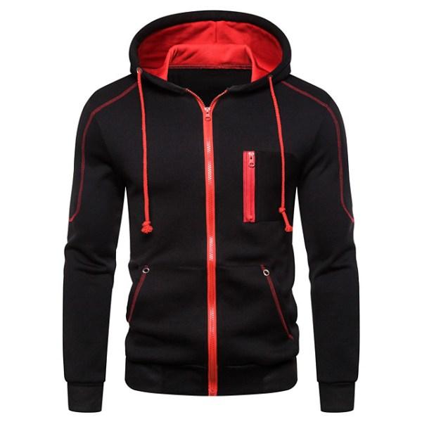 Black and Red Zip Up Hoodie