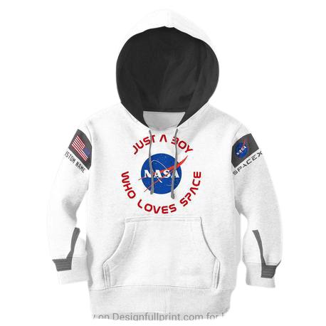 Kids NASA Hoodie in White