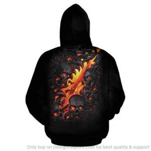 Red Skull hoodie in black back view