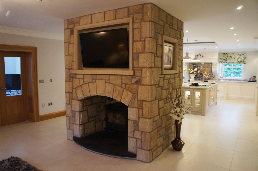Double sided fireplace 75 Donegal 20 Omagh and 5 Blue centre sandstone  Coolestone Stone