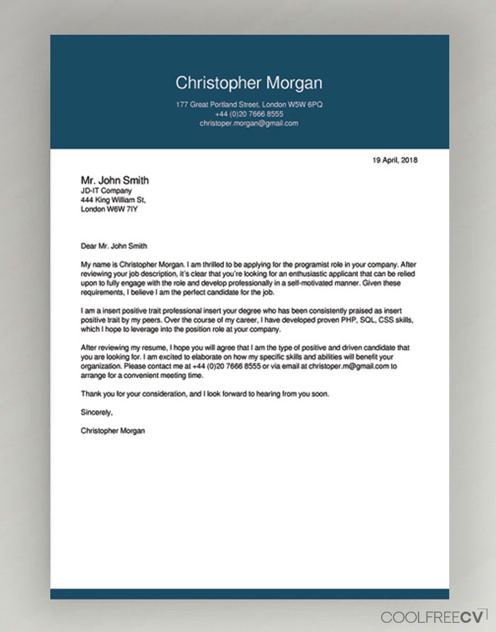 Cover Letters Samples For Jobs