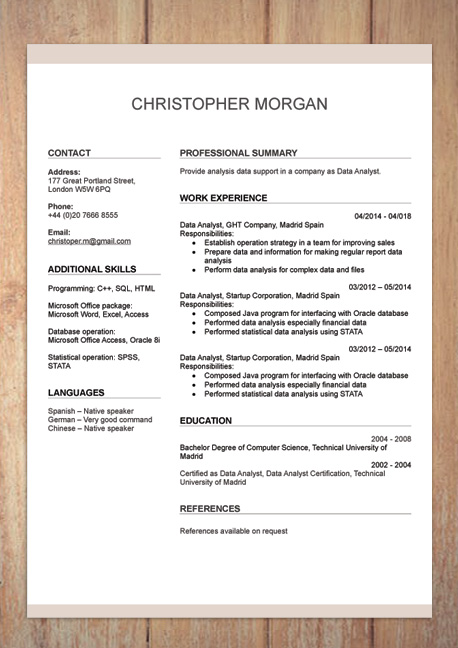 Resume Format Doc With Photo