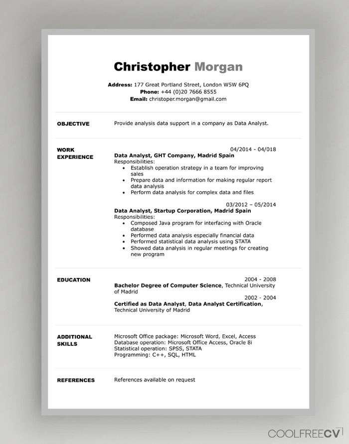 photography resume example