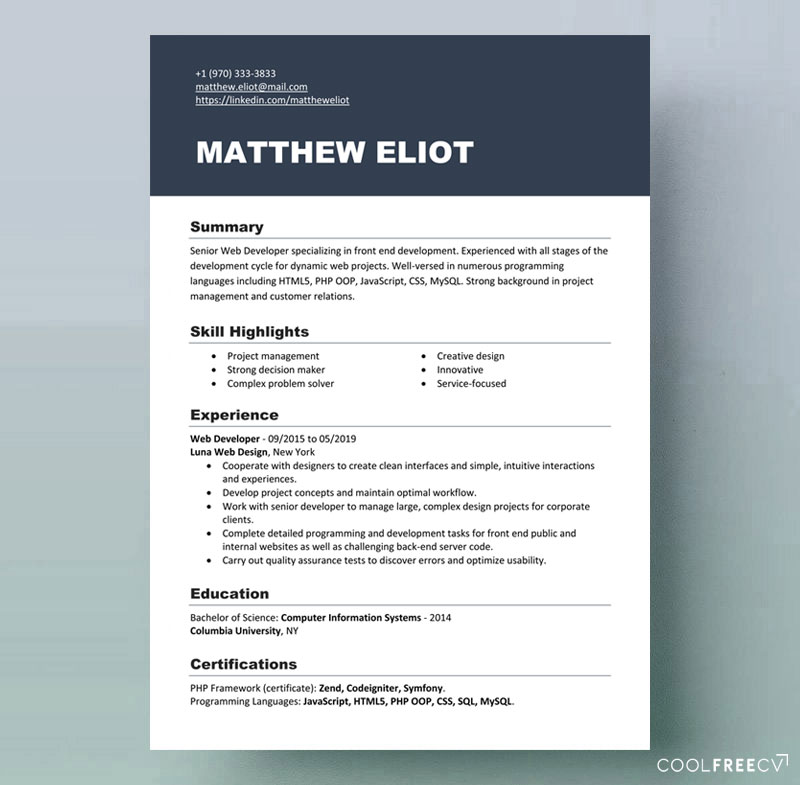 Resume templates examples free word doc
