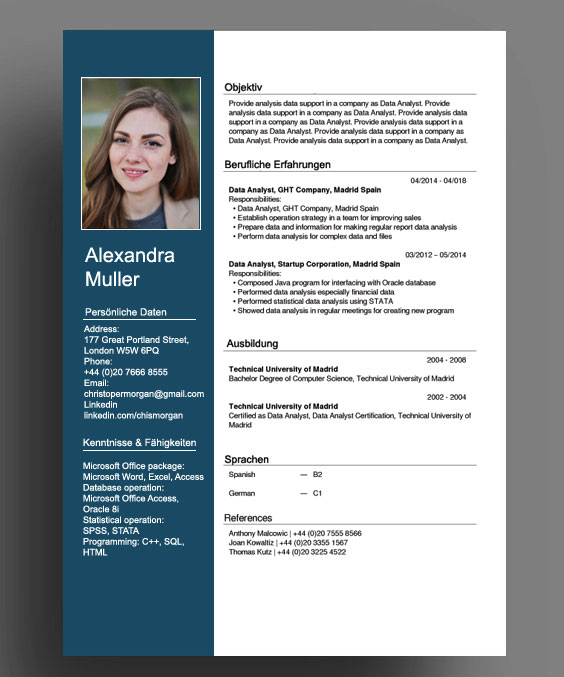 Switzerland Swiss German CV Resume Template