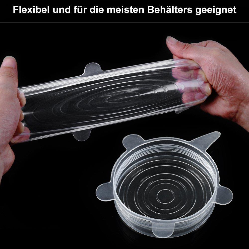 Frischhalte-Deckel für alle Behälter und Obst, flexibeler Deckel aus Silkon