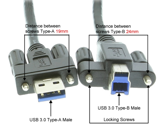 usb cable screw lock  locking cables for usb connections