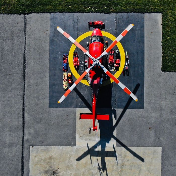 Infographic bovenzijde uitrusting Trauma Helicopter - Tetris Challenge