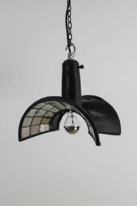 BLACK ESLA 1930s INDUSTRIAL MIRRORED LIGHT PENDANT ...