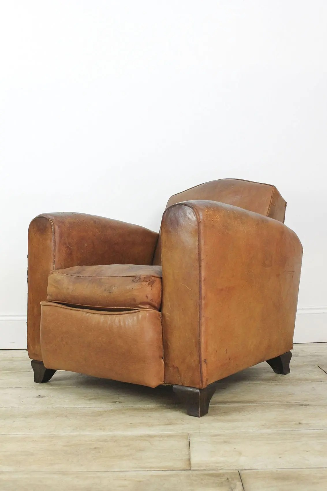 distressed leather armchair uk office chair for back pain art deco club  cooling and