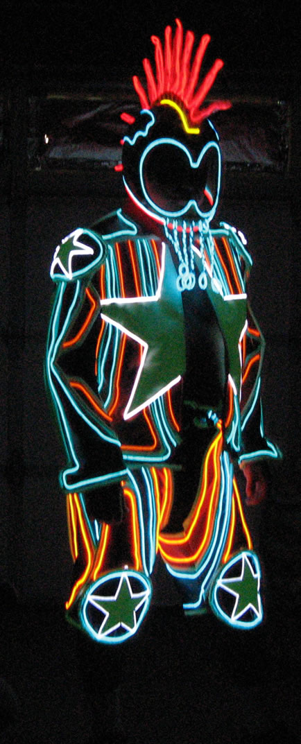 Cool Neon EL Wire lights up this Star Suit - Cool Neon EL Wire