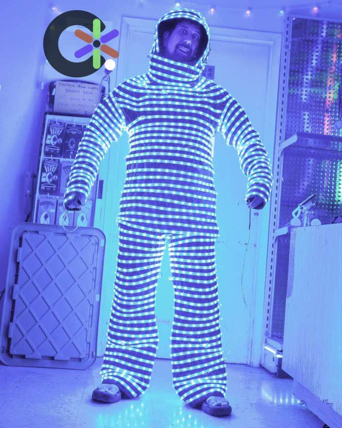 Benny in our custom made LED Light Suit