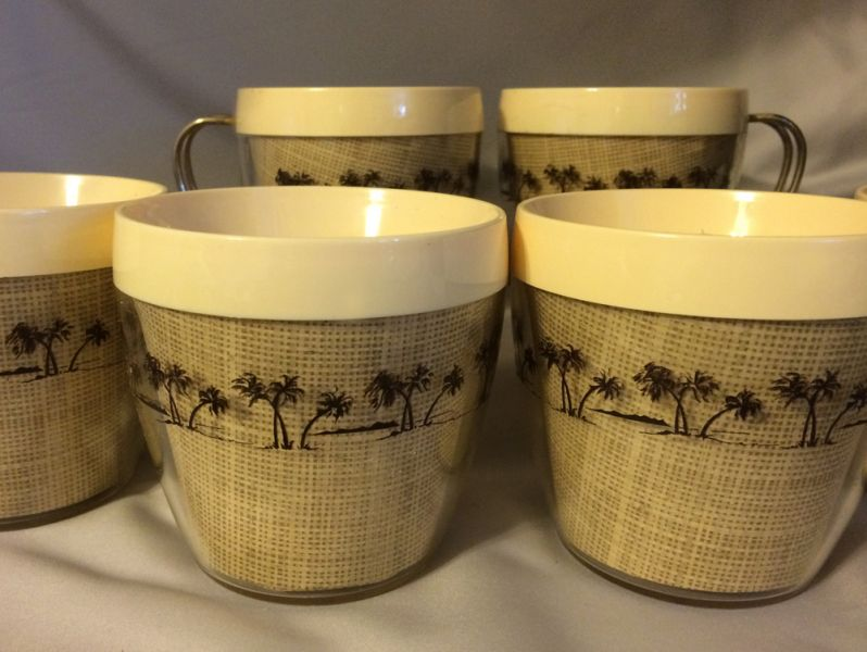 1960s Vintage Thermal Coffee Cups with Burlap and Palm Trees NFC USA in XSOLD GALLERY