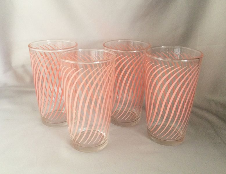 vintage posters for kitchen gray tile 1950s pink swirls striped beverage drinking ...