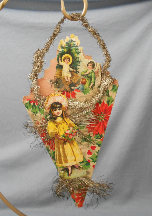 Antique Cornucopia Scrap Tinsel Christmas Ornament In