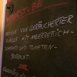 Weberstube - Speisekarte