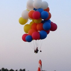 Child Camping Chair Chairs Under 50 Man Flies In An Office Strapped To 55 Balloons, Comes Back Down And Goes Work