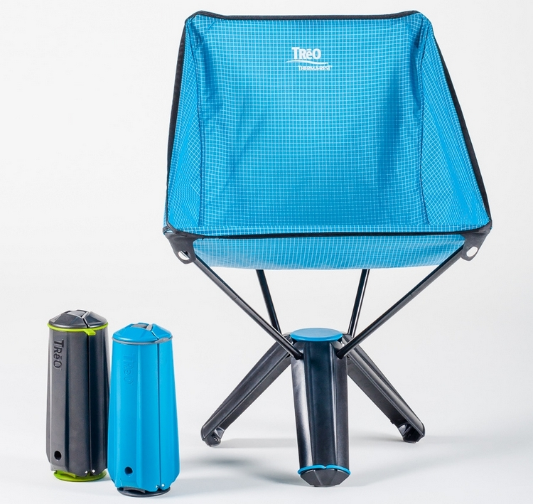 folding sports chair royal blue covers therm a rest treo camping collapses to the size of small thermos bottle