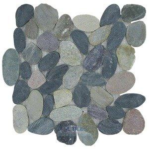 spa tile flat pebbles mesh backed sheet in mountain grey