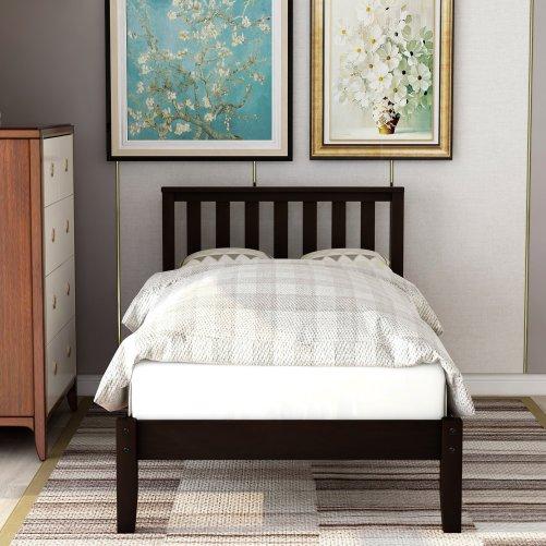 Wood Platform Bed with Headboard/Wood Slat Support,Twin 3