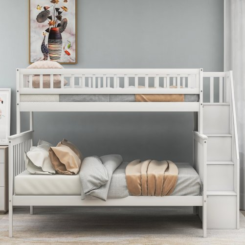 Twin over Full Stairway Bunk Bed with Storage 2