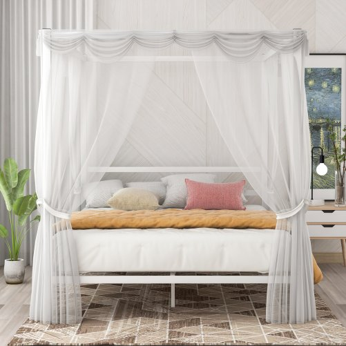 Metal Framed Canopy Platform Bed with Built-in Headboard 2