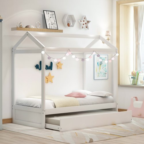 House Bed with Trundle, Can Be Decorated 6