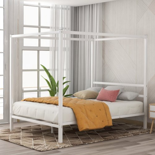 Metal Framed Canopy Platform Bed with Built-in Headboard 3