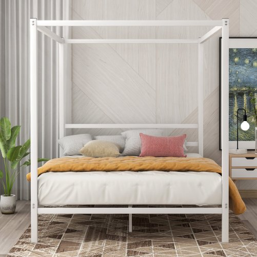 Metal Framed Canopy Platform Bed with Built-in Headboard 4