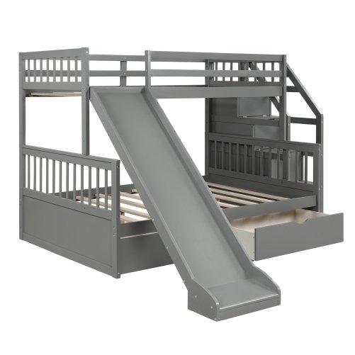 Twin over Full Bunk Bed with Drawers,Storage and Slide 6