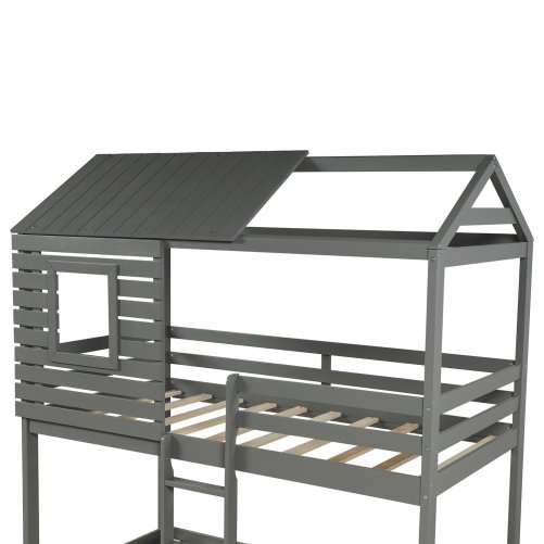 Wood Twin Over Twin Bunk/Loft Bed with Roof 5