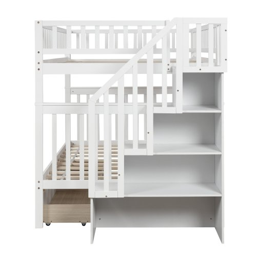 Full over full bunk bed with two drawers and storage 7