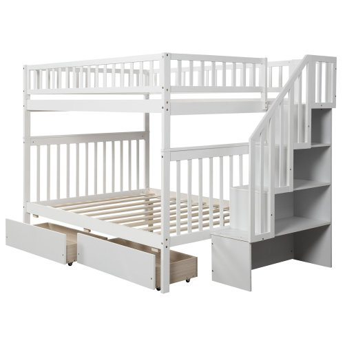Full over full bunk bed with two drawers and storage 4